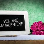 Slate blackboard valentine and roses — Stock Photo #61876967