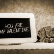 Slate blackboard valentine sepia — Stock Photo #61876985