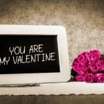 Slate blackboard valentine and roses — Stock Photo #61876991