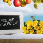 Slate blackboard valentine and roses — Stock Photo #61877405