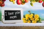 Slate blackboard love mum and roses — Stock Photo