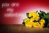 Roses with valentine message — Stockfoto