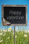 Chalkboard with text Happy valentine — Stock Photo