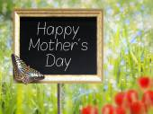Chalkboard with text Happy Mothers Day — Stock Photo