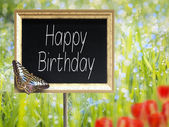 Chalkboard with text Happy Birthday — Стоковое фото