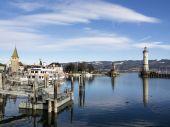 Lindau harbor binaları ile — Stok fotoğraf