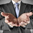 Businessman holds out hands — Stock Photo #68519217