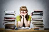 Happy female student with books — Stock Photo