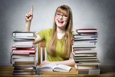 Happy student woman with books — Stock Photo