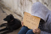 Jobless seek help — Stock Photo