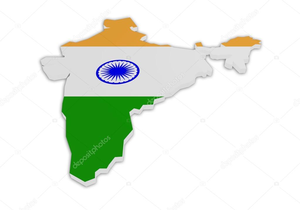 印度的 3d 地图覆盖着国旗设计