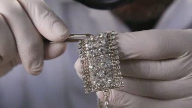 Polished diamonds inlay — Stock Video