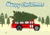 总线和圣诞树 — 图库矢量图片