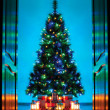 Door opening into living room decorated for Christmas — Stok fotoğraf #56070123