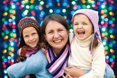 Happy family mother and two little daughter  — Stock Photo