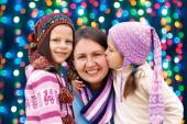 Happy family mother and two little daughter  in the Christmas ho — Stock Photo