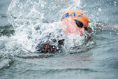 Closeup of a Conor Murphy in the mens swimming in the cold water — Stock Photo