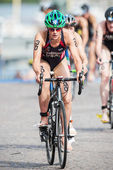 Katie Hursley from USA after the transition to cycling at the Wo — Stock Photo