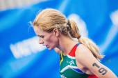 Closeup of Gillian Sanders from South Africa at the finish area — Stock Photo