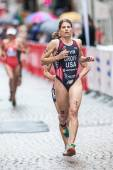 Sarah Groff from USA leading at the cobblestone roads of the old — Stock Photo