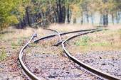 Railway track splits into two directions — Stock Photo