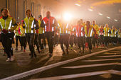 Big group of runners in the Stockholm Tunnel Run — Stock Photo