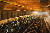 Lot of runners from above in Stockholm Tunnel Run — Стоковое фото