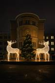 Two raindeers and a christmas tree with light at Norra Bantorget — Stock Photo