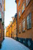 Small road in the old town of Stockholm during winter — Stock Photo