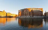 Swedish Parliament building or Rosenbad in evening sun during — Stock Photo
