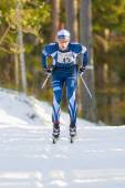 Closeup of a top ski runner after the first lap in the Stockholm — 图库照片