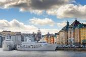 Slussen and the old town from the seaside — Stock Photo