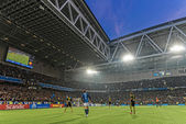 View of Tele2 arena during the soccer game between DIF and AIK a — Stock Photo