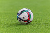 Offical football in Allsvenskan and the football used by DIF and — Stock Photo