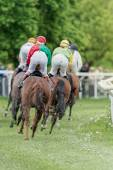 Jockeys passed by into a curve at the Nationaldags Galoppen at G — Stockfoto