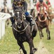 Action when jockey and horse coming out from the last curve — Stock Photo #74650963