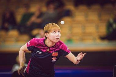 Finals between Mu Zi (CHI) and Zhu Yuling (CHI) in table tennis