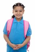 Young School Girl with Backpack — Stock Photo