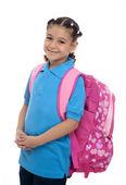 School Girl with Backpack — Stock Photo