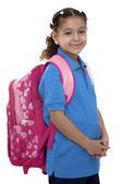 Beautiful School Girl with Backpack — Stock Photo