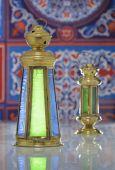 Shiny Lanterns over Ramadan Fabric — Stock Photo