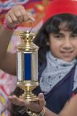 Happy Young Girl Holding Lantern Celebrating Ramadan — Stock Photo