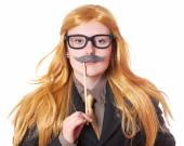 Young woman dressed up as a man — Foto Stock