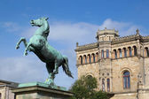 Saxon Steed and Leibniz University in Hannover Germany — Stock Photo
