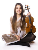 Young asian woman with violin — Fotografia Stock