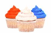 Patriotic red, white and blue cupcakes — Stock Photo