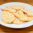 Plate of Easter cookies - eggs and bunnies  — Stock Photo #66474241