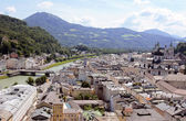 Salzburg cityscape - Salzach river and Old Town — Stock Photo
