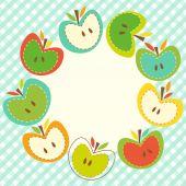Cute wreath with apple — Stock Vector
