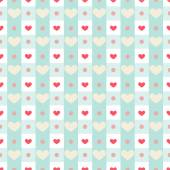 Gingham with hearts — Stock Vector